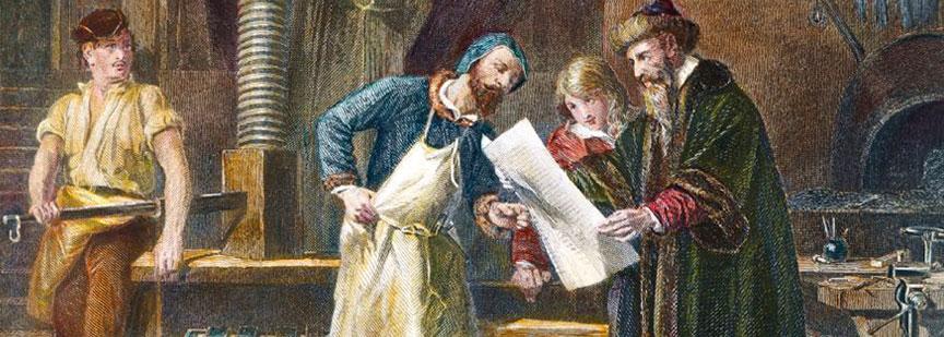 یوهانس گوتنبرگ آلمانی کسی بود که اولین دستگاه چاپ را اختراع کرد.